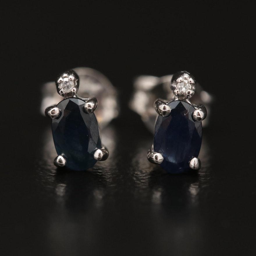 10K Sapphire and Diamond Stud Earrings