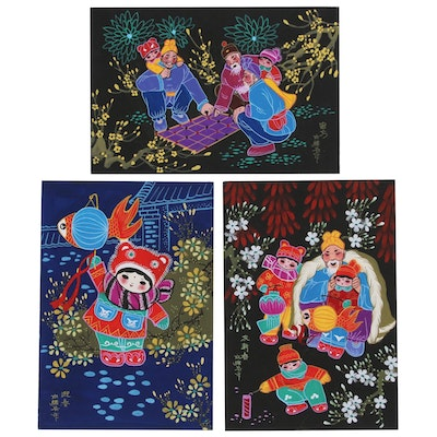 East Asian Gouache Folk Paintings, Late 20th to 21st Century