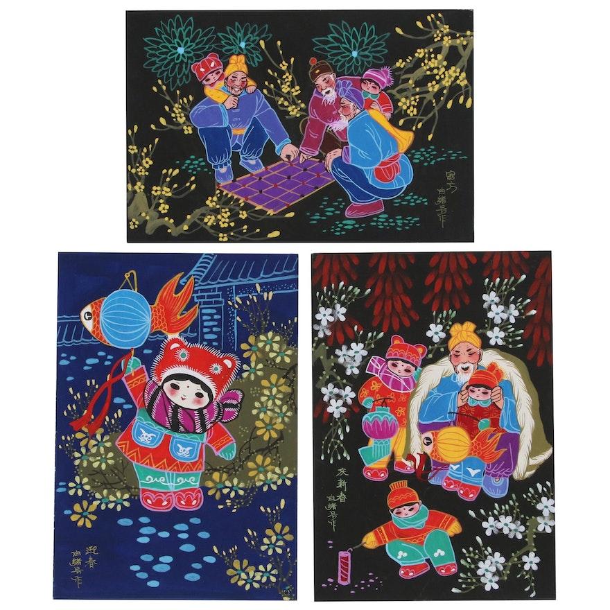 East Asian Gouache Folk Paintings, Late 20th to 21st Century