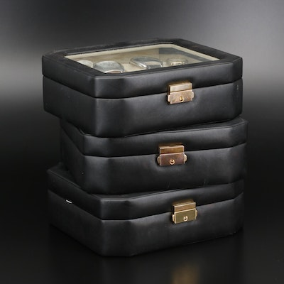 Three Lockable 8 Piece Watch Containers with Various Quartz Wristwatches