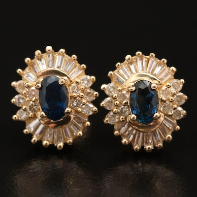 14K Sapphire and Diamond Oval Stud Earrings