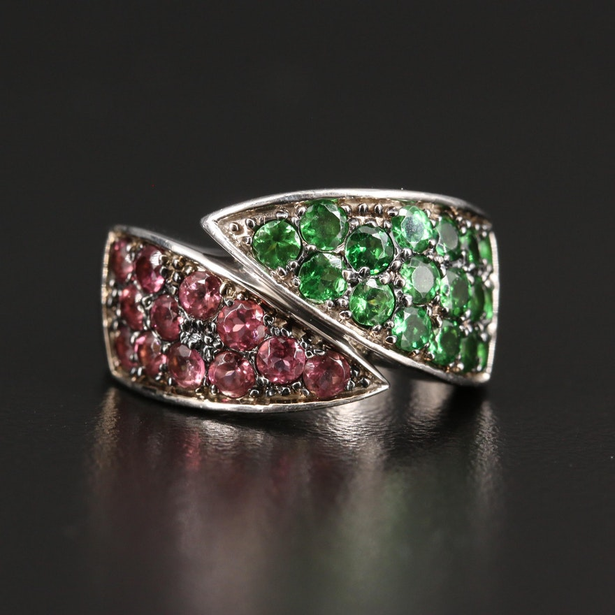 14K Tsavorite and Tourmaline Crossover Ring
