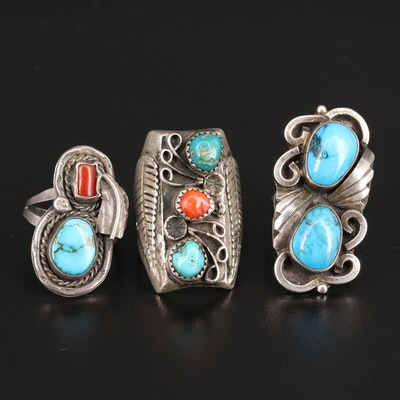 Western Sterling Silver Turquoise and Coral Rings
