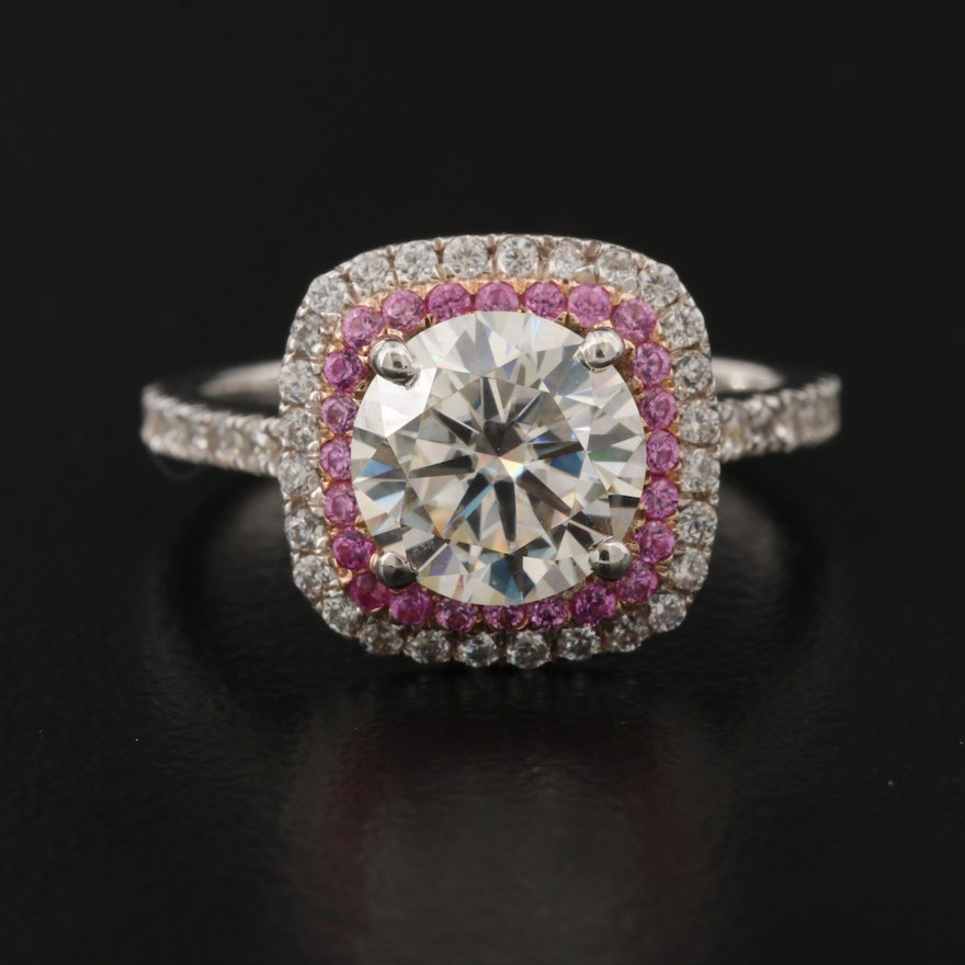 Sterling Silver Moissanite, Pink Sapphire and Cubic Zirconia Ring