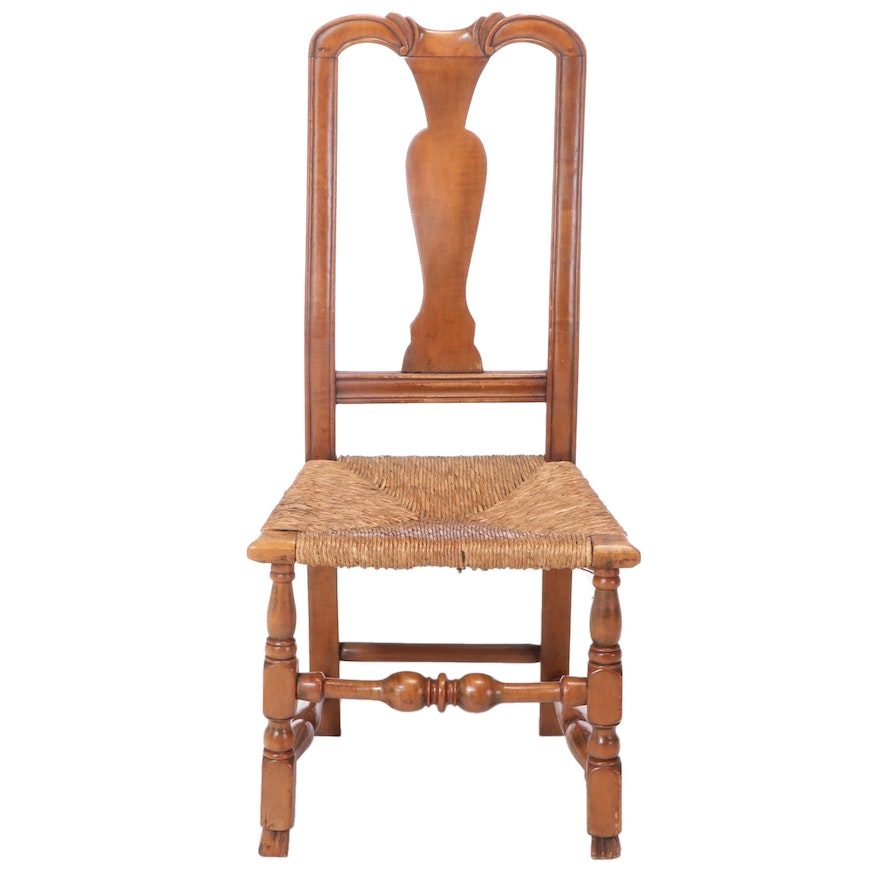 American Queen Anne Maple Country Side Chair, 18th Century