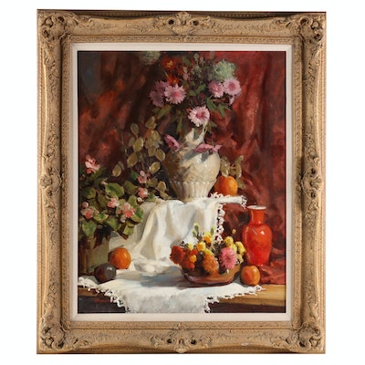 Robert Brubaker Floral Still Life Oil Painting