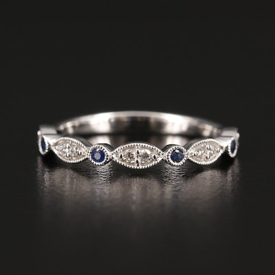 14K Sapphire and Diamond Ring with Milgrain Detailing