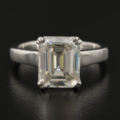 Sterling Silver Rectangular Moissanite Ring