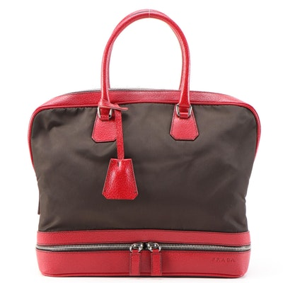Prada Borsa a Mano Red Leather and Dark Brown Nylon Handbag