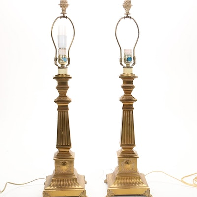 Pair of Neoclassical Style Cast Brass Table Lamps