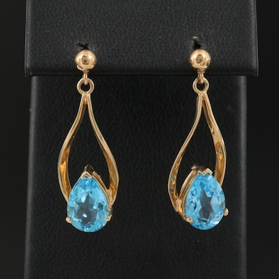 14K Topaz Drop Earrings