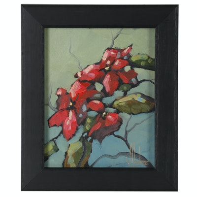 William Hawkins Floral Oil Painting, Late 20th Century