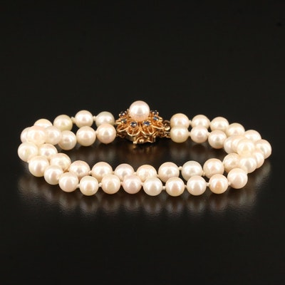 Knotted Pearl Double Strand Bracelet with 14K Sapphire Accented Clasp