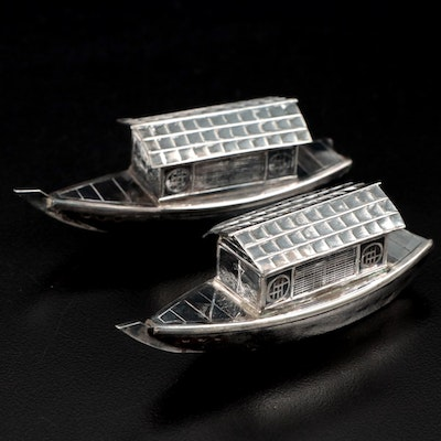 950 Silver Japanese Figural Wasen Boat Shakers, Early 20th Century