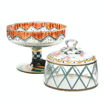 MacKenzie-Childs Glass Compote and Other Hand-Painted Glass Dome