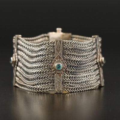 Ottoman Empire Inspired Sterling Silver Topaz Bracelet