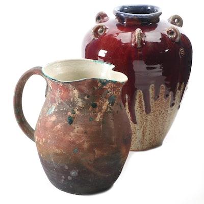 Brigitte Appelby Matte Glaze Pitcher, 1994, and Drip Glaze Pottery Vase