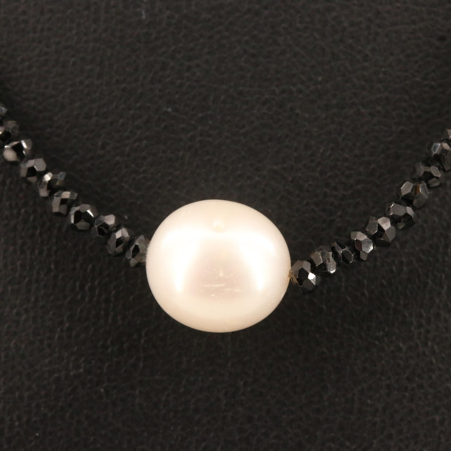 Pearl and Faceted Spinel Bead Necklace with 14K Clasp