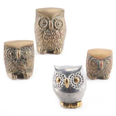 Korean and Chinese Metal Owl Figurines