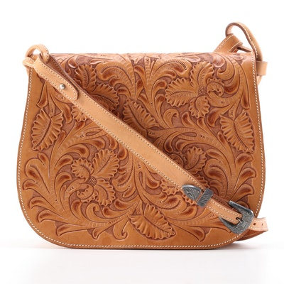 Polo Ralph Lauren Tooled Leather Front-Flap Shoulder Bag