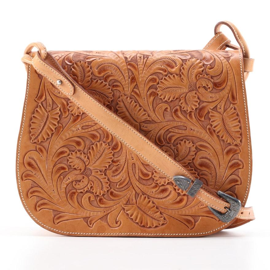 Polo Ralph Lauren Tooled Leather Front-Flap Shoulder Bag