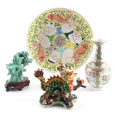 Antique Chinese Rose Medallion Porcelain Bud Vase with Other Chinese Decor