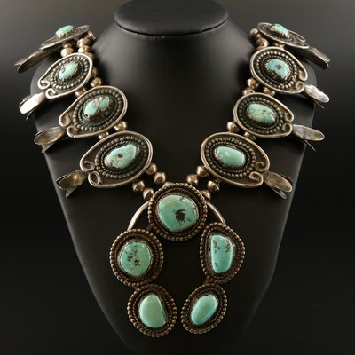 Vintage Western Sterling Turquoise Squash Blossom Necklace with Naja Pendant
