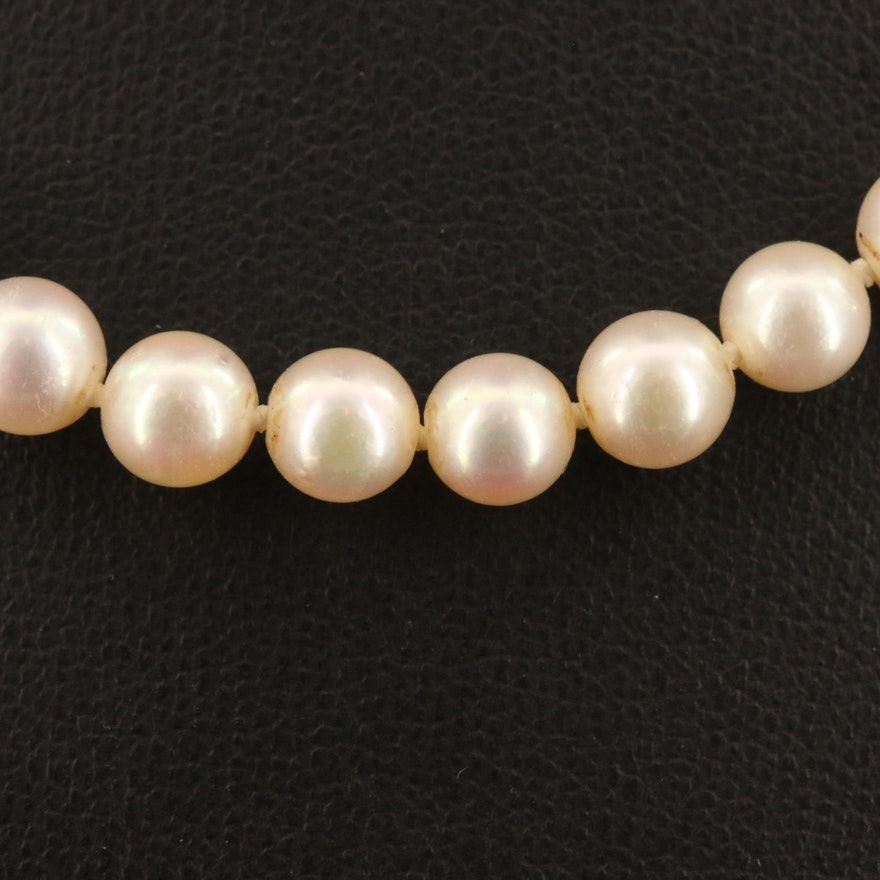 Vintage Knotted Pearl Necklace with 14K and Palladium Diamond Clasp