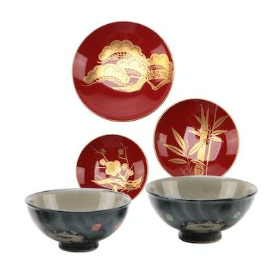 Japanese Ceramic Rice and Red Laquerware Sushi Bowls