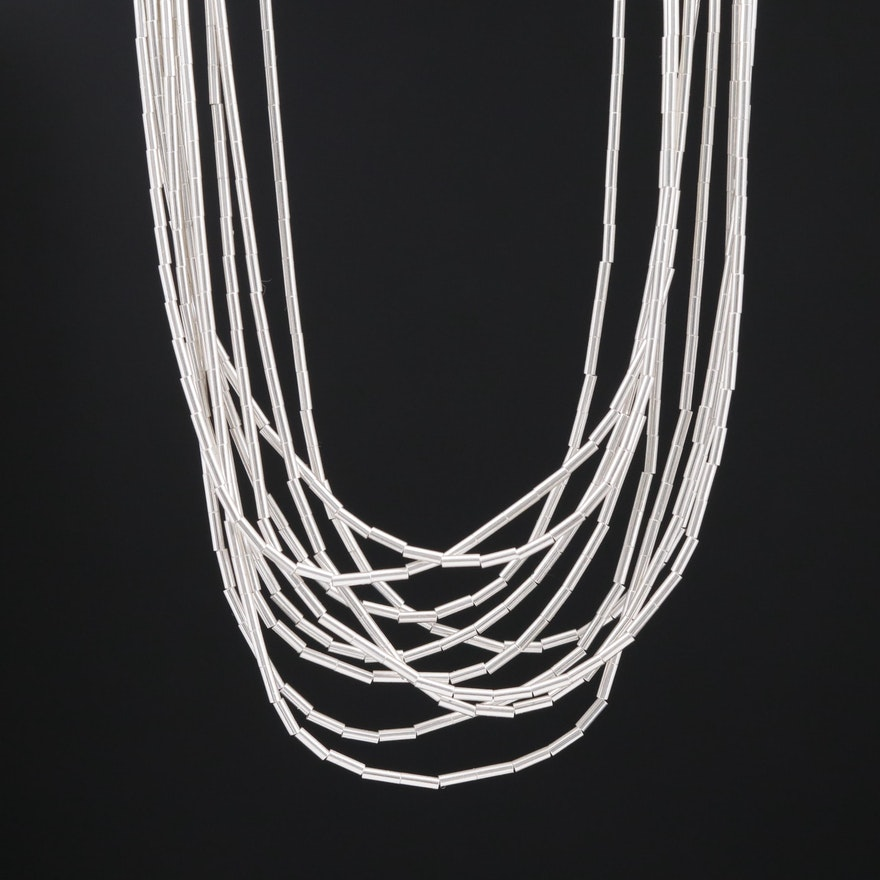 Sterling Beaded Liquid Silver Necklace