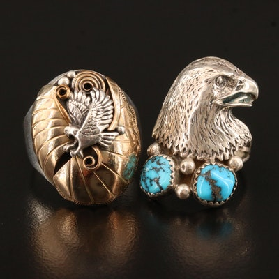 Western Sterling Eagle Motif Rings Including Turquoise