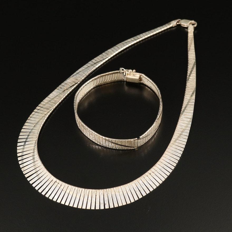 Sterling Patterned Link Graduated Necklace and Bracelet Set