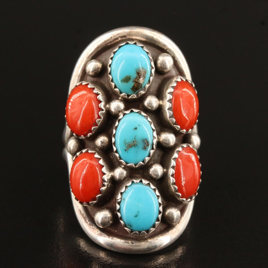 Western Sterling Turquoise and Coral Ring
