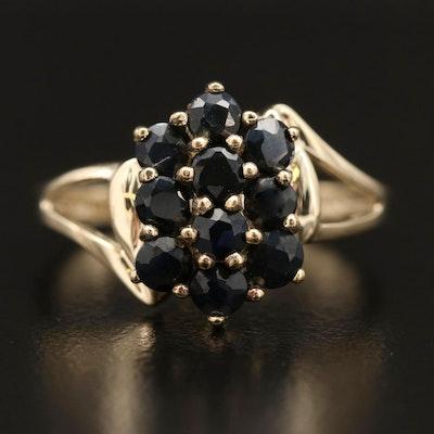 10K Sapphire Cluster Ring