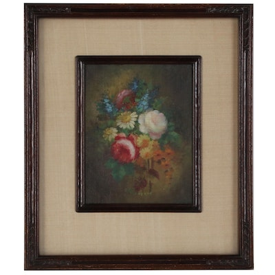 C.M. Thompson Floral Oil Painting, Early 20th Century