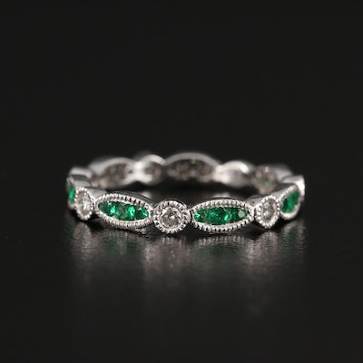 Platinum Diamond and Emerald Band