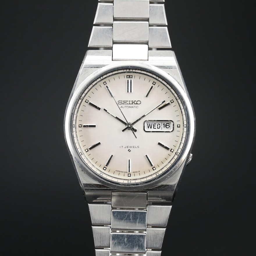 1970s Seiko Stainless Steel Day/Date Automatic Wristwatch