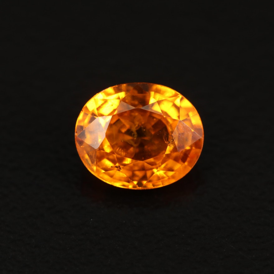 Loose 1.26 CT Oval Faceted Orange Sapphire