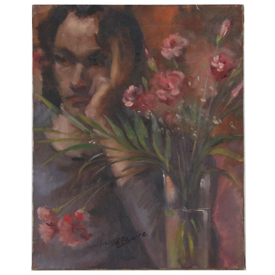Jacques Zuccaire Oil Painting of Figure with Flowers, Mid to Late 20th Century