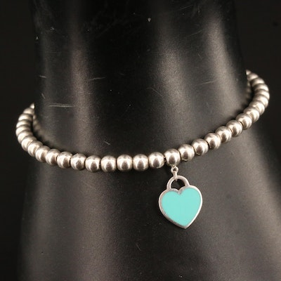 "Tiffany & Co. ""Return To Tiffany"" Sterling Silver Enamel Heart Bracelet"