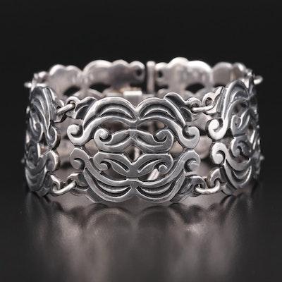 Vintage Mexican Sterling Panel Bracelet