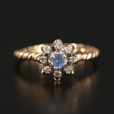 10K Sapphire and Diamond Flower Ring