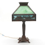 Arts and Crafts Slag Glass with Scenic Metal Overlay Table Lamp