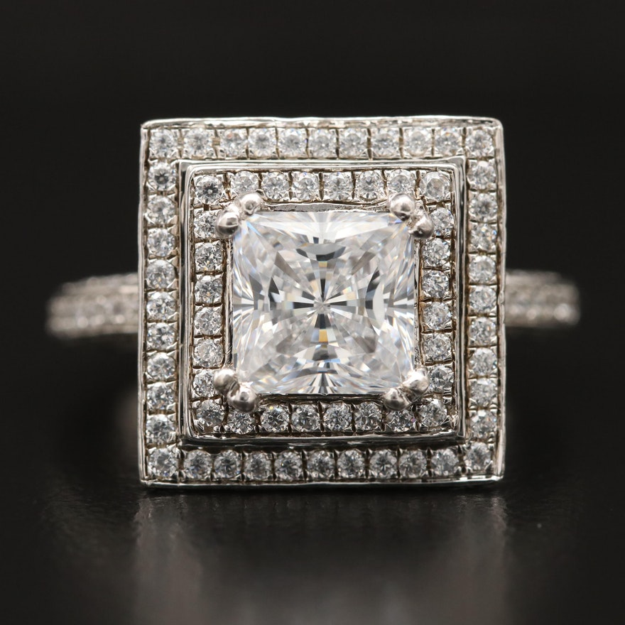 Sterling Silver Cubic Zirconia Rectangular Double Halo Ring