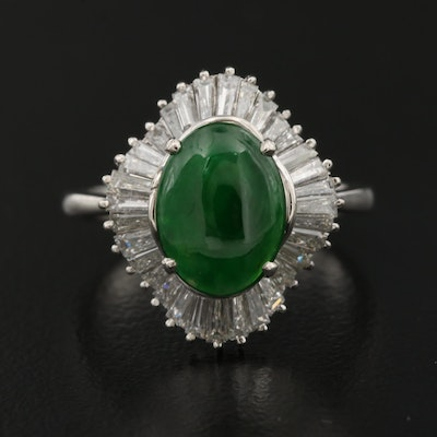 Platinum Jadeite and Diamond Ballerina Ring