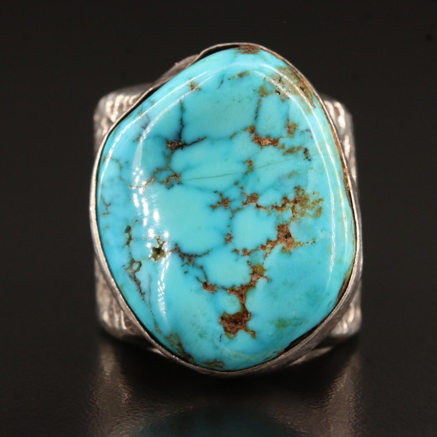 Southwestern Style Sterling Turquoise Sandcast Ring