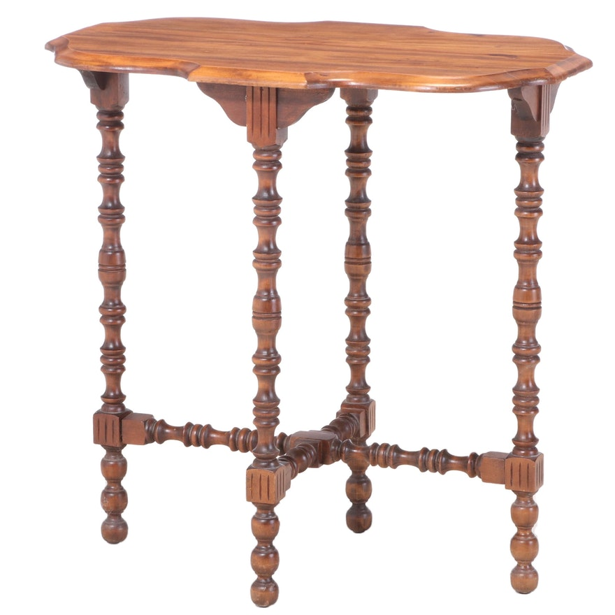 Spool-Turned and Stained Hardwood Side Table, circa 1930