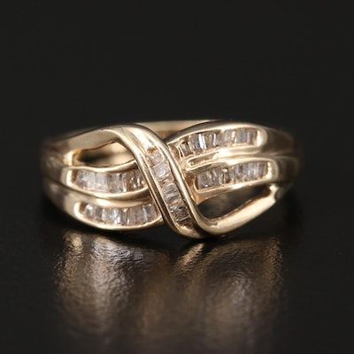 10K Diamond Crossover Ring