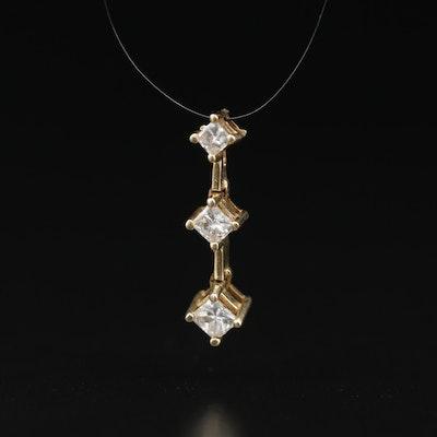 14K 0.43 CTW Diamond Graduated Pendant