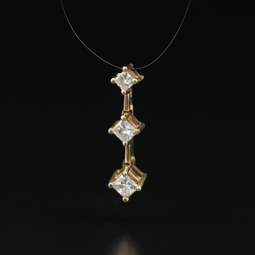 14K 0.43 CTW Diamond Graduated Pendant